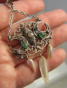 Estate Vintage Unusual Emerald Ruby Pearl Crescent Moon Sterling Silver Necklace