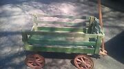 Antique 1800's Child's Farm Wooden Wagon, Yellow Stencil And Red Wheels