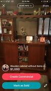 Stained Antique Bar/cabinet 5 Cabinet Space