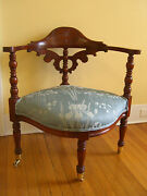 Antique/vintage Boot Chair With Turned Posts And Ornate Finial On Brass Casters