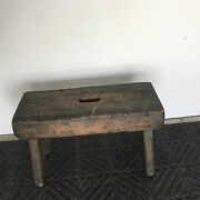Antique Primitive Painted Wood Stool / Sitting Bench Possibly Milking Stool