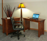 Home Office Computer Desk Solid Oak Mission Style 143