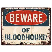 Ppdg0145 Beware Of Bloodhound Plate Rustic Tin Chic Sign Decor Gift