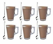 6 X 240ml Coffee Tall Clear Glass Cafe Latte Cappuccino Mug Cup And 6 Spoons