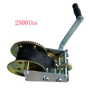 2500lbs 24 Strap Hand Winch Manual Trailer Crank Winch With Hook Boat Pull Tow