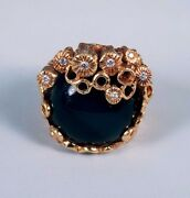 18k Yellow Gold Modernest Large Round Black Onyx And Diamond Chip Ring Size 6.5