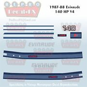 1987-88 Evinrude 140 Hp V4 Outboard Reproduction 11 Piece Marine Vinyl Decals