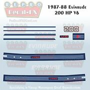 1987-88 Evinrude 200 Hp V6 Outboard Reproduction 11 Piece Marine Vinyl Decals
