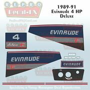 1989-91 Evinrude 4 Hp Deluxe Outboard Reproduction 10 Piece Marine Vinyl Decals