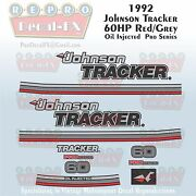 1992 Johnson 60hp Tracker Red Grey 3 Cyl Outboard Repro 13pc Pro Series Decals