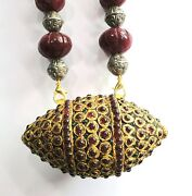 Vintage Antique 22k Gold Silver And Stone Beads Jewelry Necklace Pendant
