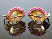 Vintage 1950s 3.5ct Natural Ruby 18k Gold Clip-on Non-pierced Earrings 16g