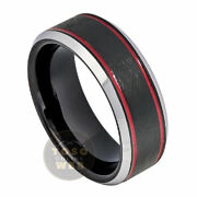Menand039s 8mm Beveled Charcoal Gray Ip Tungsten Ring W/ Red And Brushed Center Ts7450