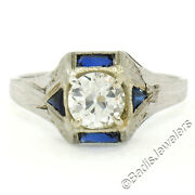 Antique Art Deco 18k White Gold 0.65ct Old European Diamond And Sapphire Ring