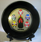 Beijing Opera Face Painting Lacquer Decorative Plate, Stand And Box