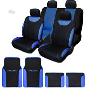For Jeep New Flat Cloth Black And Blue Car Seat Covers Floor Mats Full Set