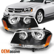 Fits 08-14 Dodge Avenger Black Replacement Headlights Headlamps Left + Right