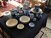 Antique Blue Stoneware Entire Set Of 18, Various Bowls, Pitchers, Canisters...