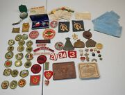 Huge Lot Of Vintage 1950and039s Bsa Boy Eagle Scouts Patches Emblem Pins Medal 8e