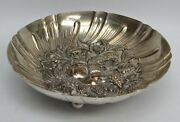 S Kirk And Son Sterling Silver Hand Chased Repousse High Relief Footed Fruit Bowl