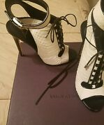 Brian Atwood White Exotic Skin Ankle Strap
