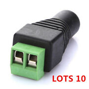 Lots Of 10 Dc Power Female Plug Jack Adapter Connector Socket For Cctv Camera