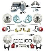 1964-1972 Chevelle Performance D/s Disc Conversion Kit Red Pc Calipers And Chrome
