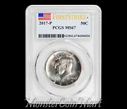 2017-p Kennedy Half Dollar Pcgs Ms67 First Strike - Currently None Graded Higher