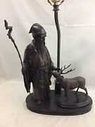 Great Orig. Anitque Signed Japanese Bronze Scholar And Deer Made Into Figural Lamp