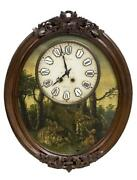 Antique Clock French Biaritz Time And Strike Painted Wall Clock1800s Gorgeous