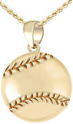 Menand039s 14k Yellow Gold Small 3d Baseball Ball Sports Charm Pendant Necklace