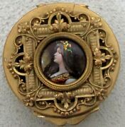 Stunning Circa 1840and039s French Gold Gilt Bronze And Enamel Cameo Round Trinket Box