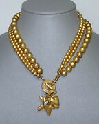 Vintage Retro 1980and039s Fred Hayman Rodeo Drive Toggle Charm Necklace Beauty Mint