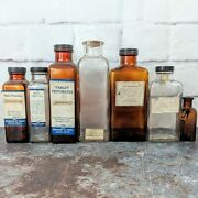 Lot Of 7 1900's Medicine Pharmacy Homeopathic Apothecary Amber Glass Bottles