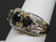 Vintage 1.75ctw Sapphire And Diamond 14k White And Yellow Gold Ring 6.3g Size 6.5