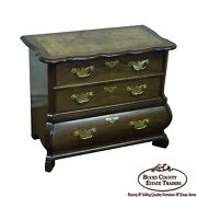 Baker Furniture Small Burl Wood And Walnut Bombe Chest