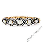 Antique 18k Yellow Gold 4.29ctw Diamond Pearl Twisted Cable Open Bangle Bracelet