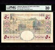 Lebanon 50 Livres 1950 P-52a Pmg Vf 30 Large Note