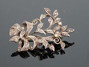 Antique Victorian C1870 0.25ctw Diamond And Pearl Floral Brooch 9k Gold 7.5g