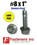 Qty 1000 8 X 1 Stainless Steel Roofing Siding Screws Hex Washer Head Tek Epdm