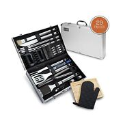 29 Piece Bbq Tools Set - Barbecue Accessories With Carrying Case - Professional