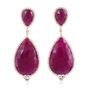 Natural Ruby And Diamond Dangle Earrings 18k Rose Gold Wedding Jewelry For Gift
