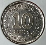 1943 Malaya 10 Cents .500 Silver Coin - George Vi India Km4a
