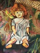 Framed Watercolor Painting By Myra Epstein 27.5 X 35.5 Doll Series 1 Of A Pair