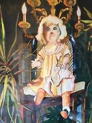 Framed Watercolor Painting By Myra Epstein Doll Series Original 27.5x35.5 Pair