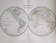 1881 Large Antique Map The World In Hemispheres Western And Eastern Asia Europe