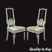 Antique Pair French Empire Neoclassical Louis Xvi Harp Lyre Back Side Chairs