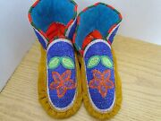 Stunning Full Bead Moccasins, 9.5 Inches, Flower, Authentic Native American