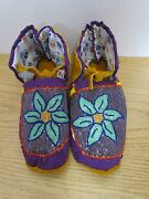Stunning Full Bead Moccasins, 10.5 Inches, Flower, Authentic Native American