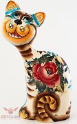 Cheshire Cat Porcelain Figurine Handmade Hand-painted Gzhel Multi Color Style